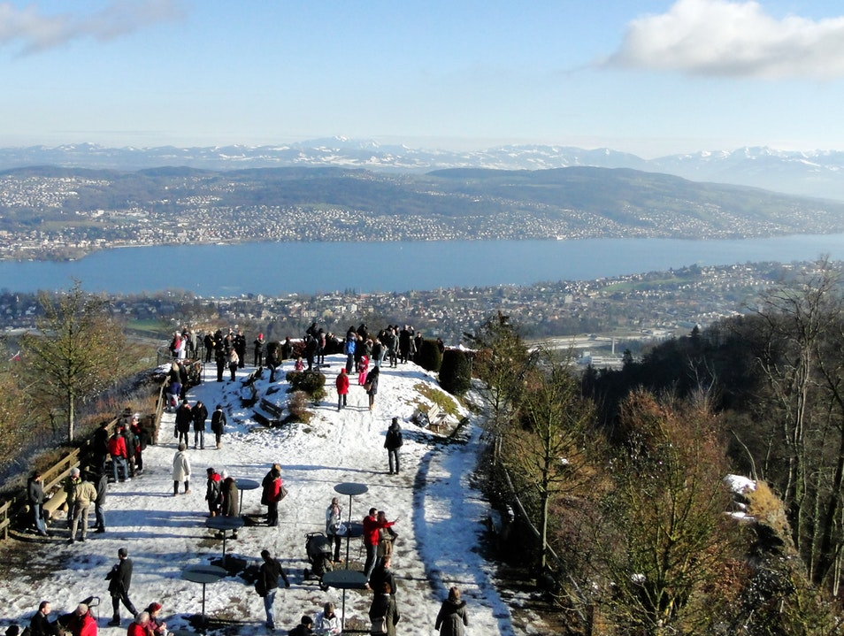 Awesome view from Top of Zurich at the Uetliberg