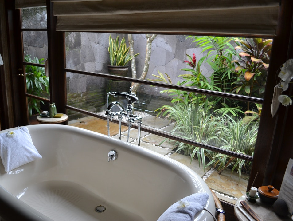 My soaking tub looked out into the garden and outside shower