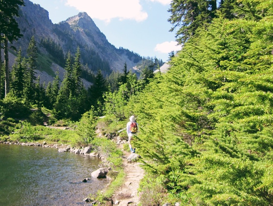 Hiking to the beautiful alpine Lake Melakwa Snoqualmie Washington United States