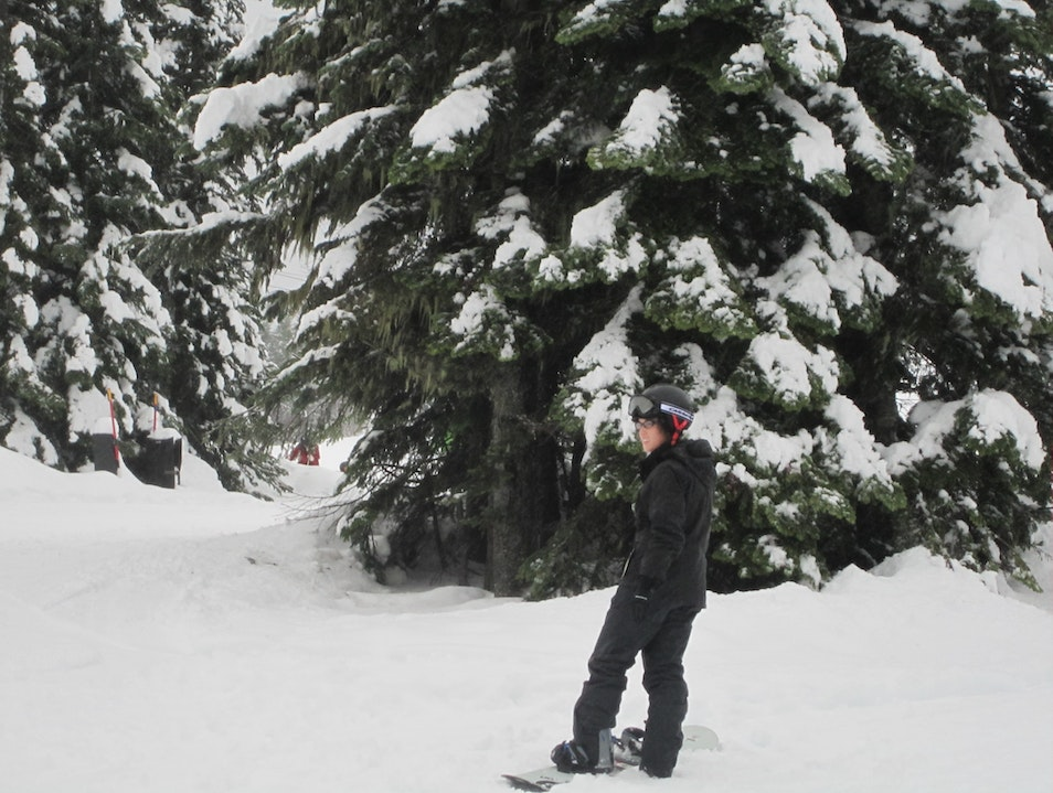 Snowboarding on the Magic Carpet Bunny Slope In Whistler