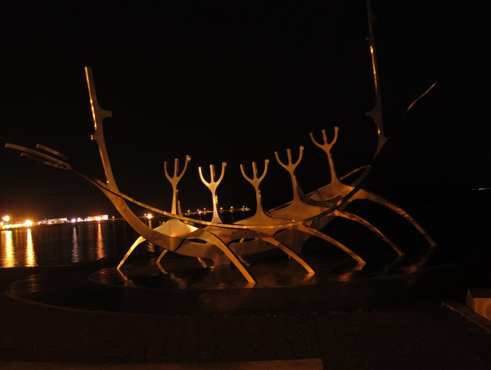 Sun Voyager at night Reykjavik  Iceland