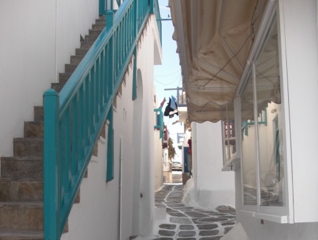 Narrow pathways in Mykonos