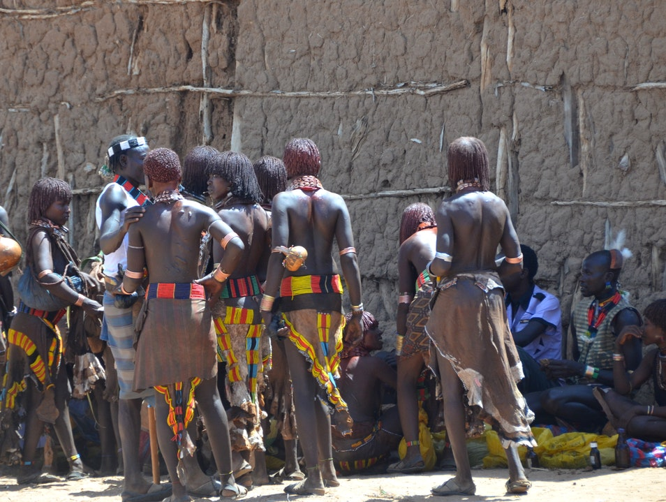 People Watching at a Tribal Market Turmi  Ethiopia