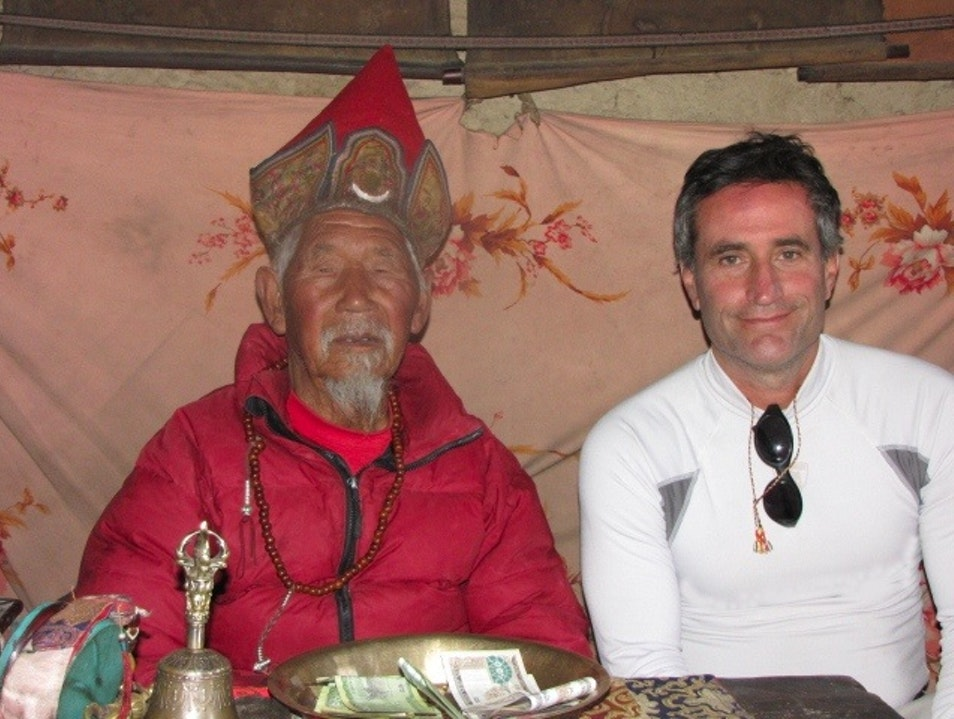 "A blessing from the ""Hundred Rupee Monk"" Manang  Nepal"