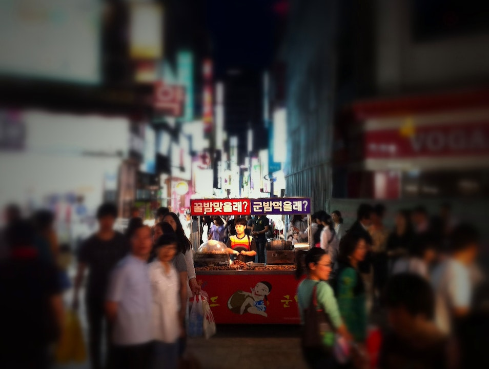bright lights, roasting chestnuts Seoul  South Korea