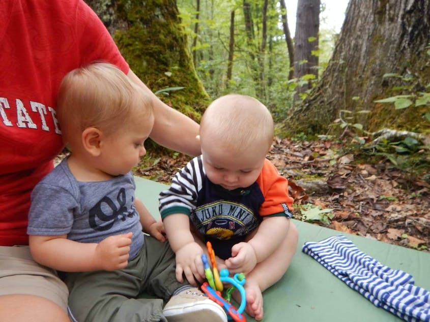 The writer's son, Gabriel, and his camping buddy, Kyle, spend some time bonding in the great outdoors.
