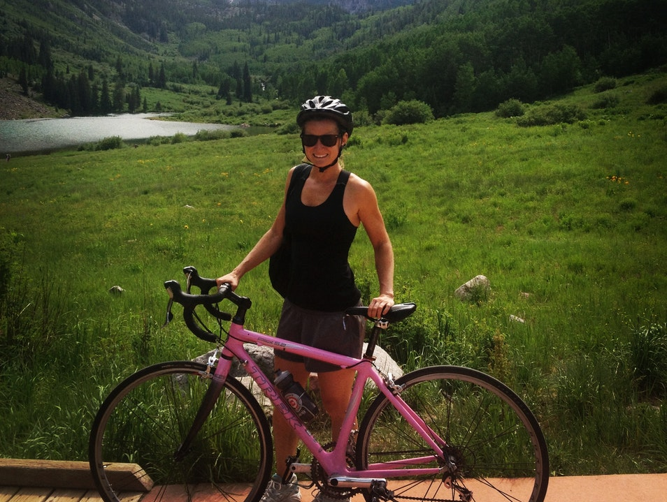 Biking to Maroon Bells Aspen Colorado United States