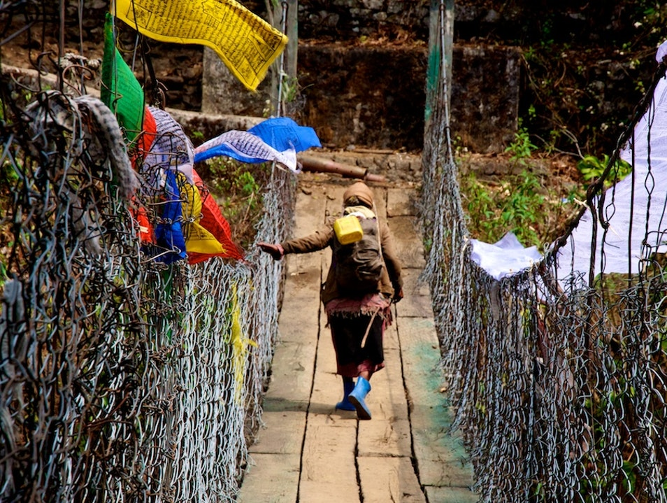 Crossing over Trongsa  Bhutan