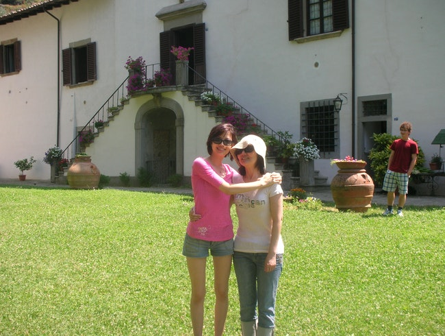 With my mom outside our villa in Tuscany!