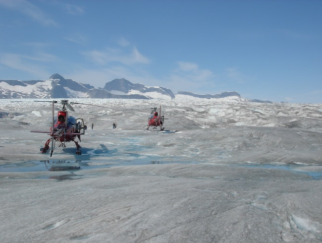 Taking a helicopter to a glacier
