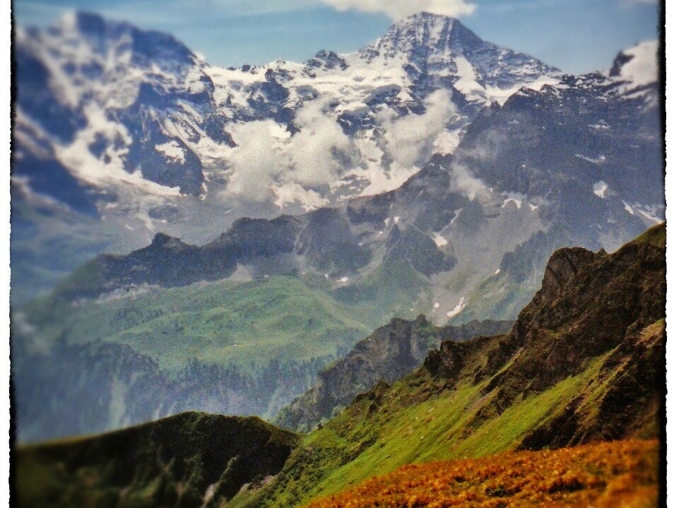above the tree-line in the Swiss Alps: a hiker's dream