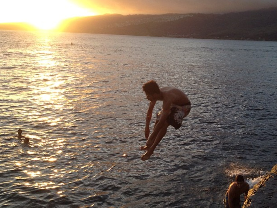 Cliff Jumping at Sunset Honolulu Hawaii United States