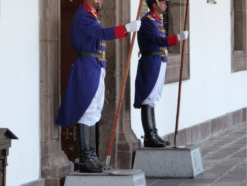 Palace Guards In Ceremonial Dress Quito  Ecuador