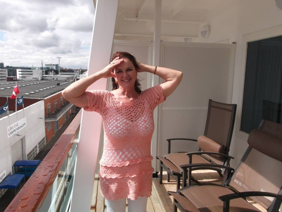 Enjoying the first few minutes on board in our phenomenal stateroom. Copenhagen  Denmark
