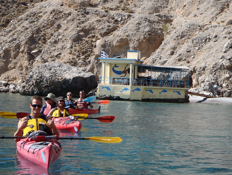 Kayaking to a tiny taverna at Sweetwater Beach Chora Sfakion  Greece