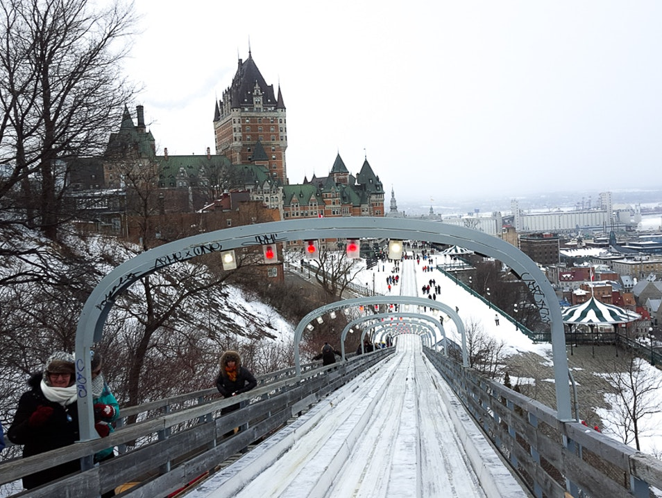 Downtown toboggan run in Quebec City Quebec City  Canada