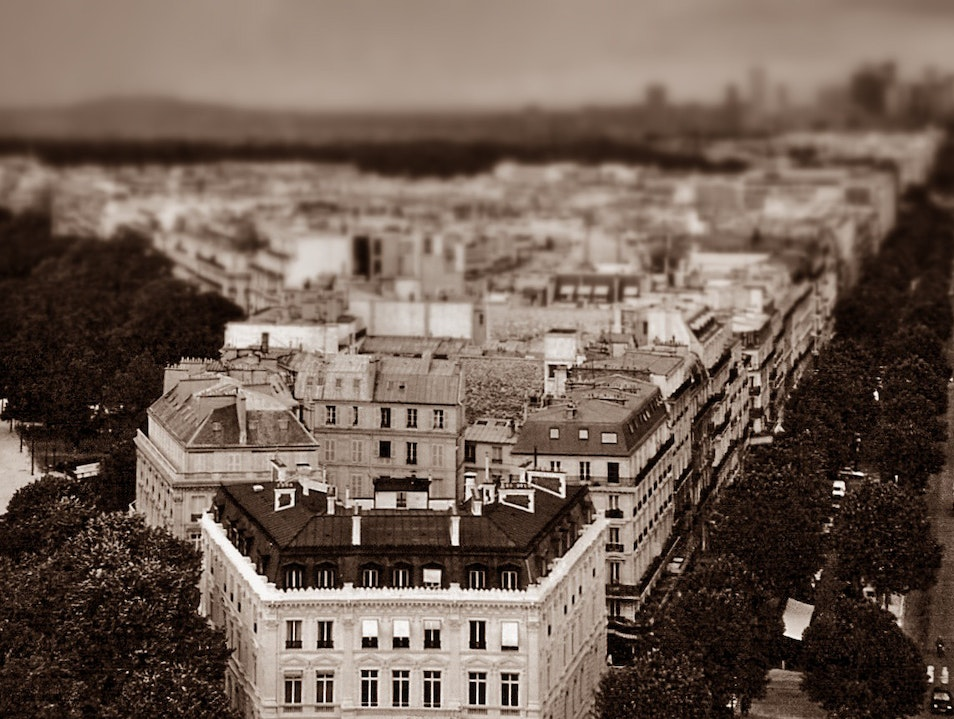 from the Arc de Triomphe, looking west