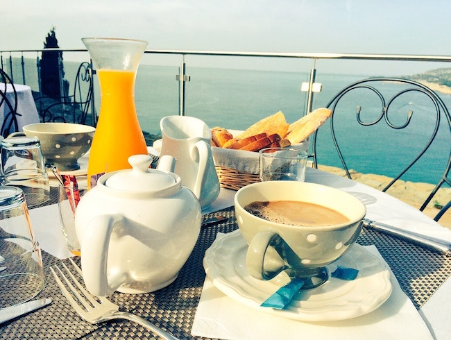 Breakfast overlooking the sea