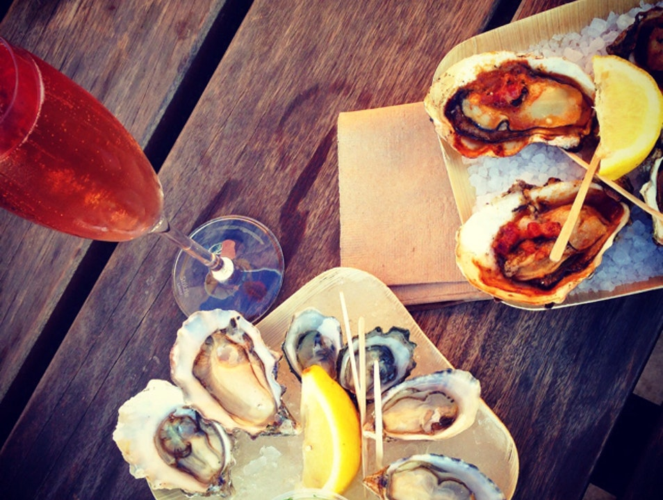 Oysters and bubbly at the market