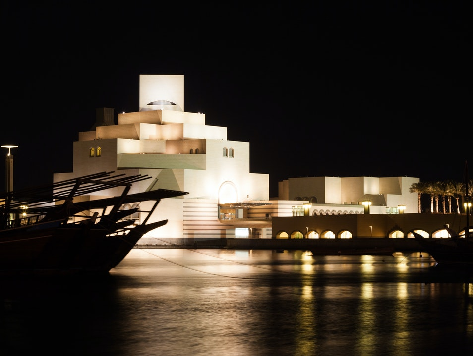 Museum and Dhow at Night Doha  Qatar