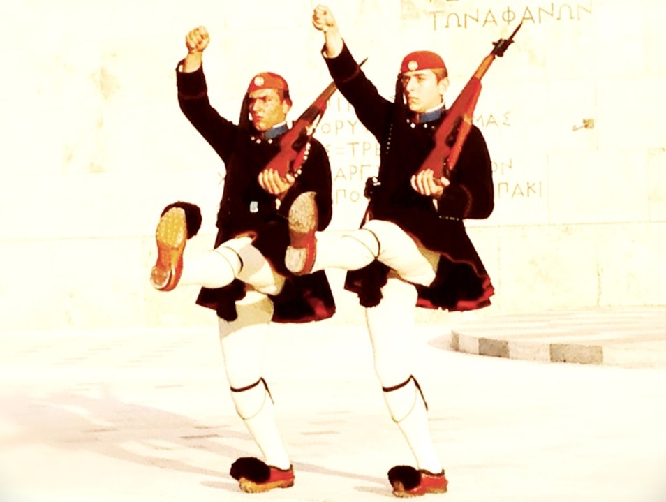 Changing of the Guard: Evzones in front of the Tomb of the Unknown Soldier. Athens  Greece