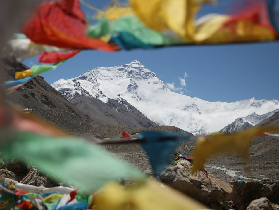 Mount Everest with Prayer Flags  Khumjung  Nepal