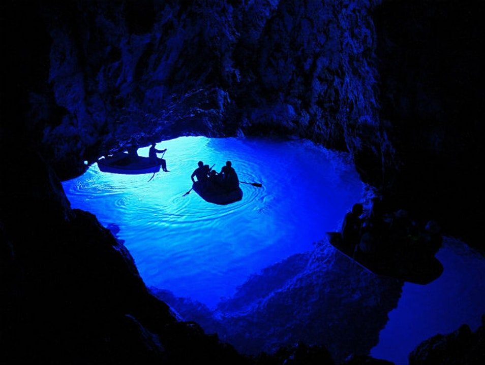 The Turquoise Blue Cave in Croatia Biševo  Croatia