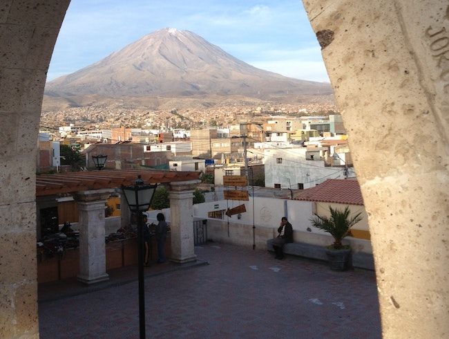 "Arequipan city sprawl guarded by ""El Misti"""