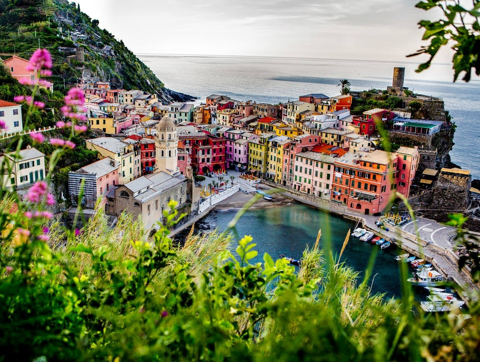 Watching the sunrise in Vernazza, Cinque Terre, Italy Vernazza  Italy