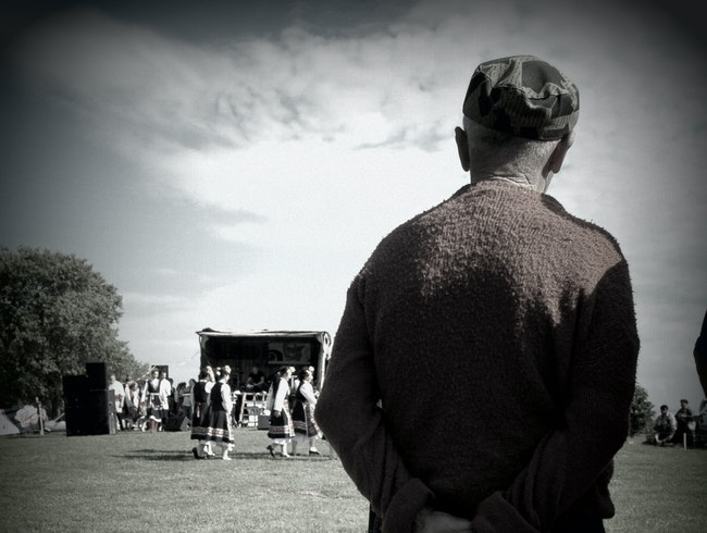 Old Man at the Rose Festival, Watching the Dancers