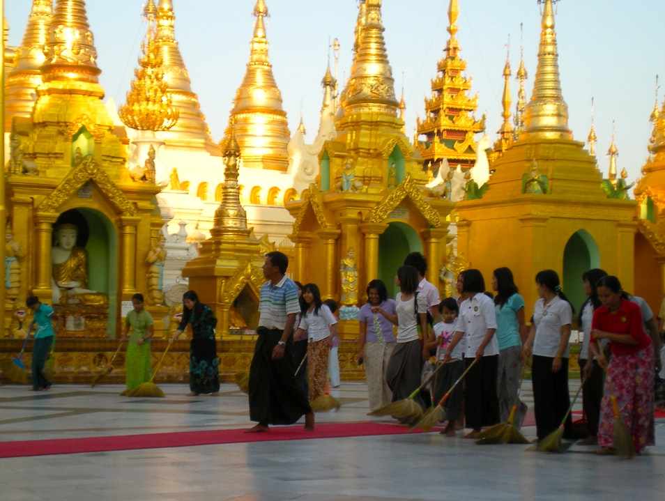 Burmese Broom Brigade Rangoon  Myanmar