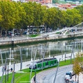 Walking tour along Abando Promenade Bilbao  Spain