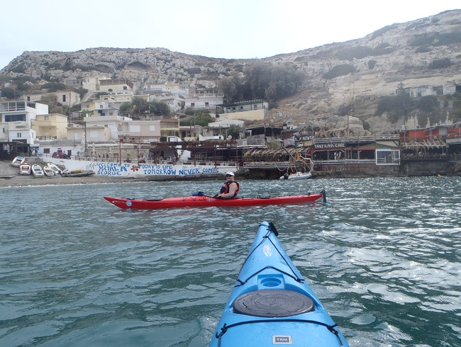 Kayaking back into Matala