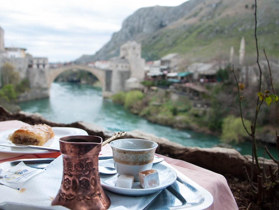 Qahva on the banks of Neretva river Mostar  Bosnia and Herzegovina