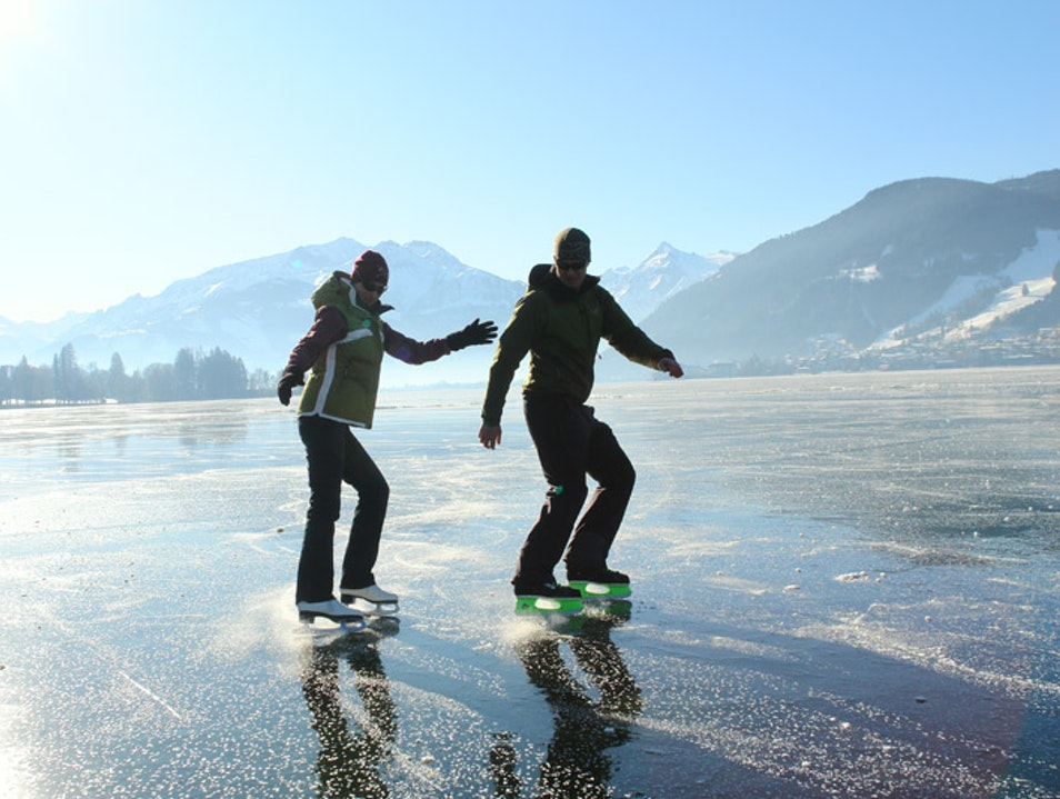 Ice Skating on Lake Zell Zell am See  Austria