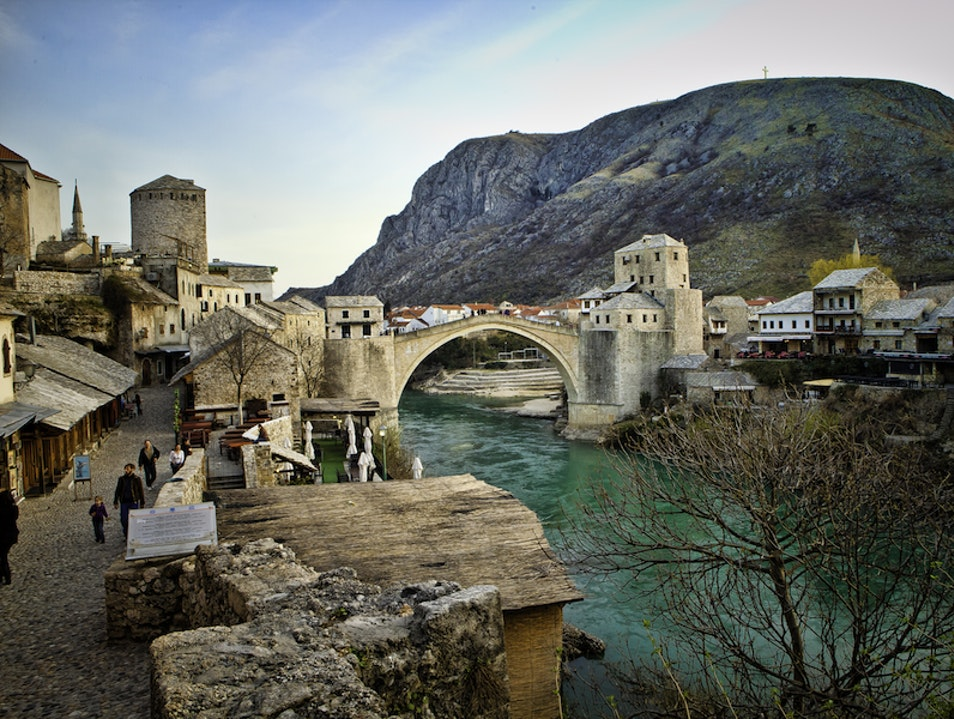 Crossing the Mostar Bridge Mostar  Bosnia and Herzegovina
