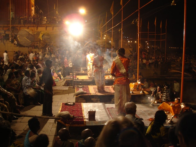 Puja Ceremony on the Ganges River at Night, Followed by a Sunrise Boat Ride on Mother Ganga