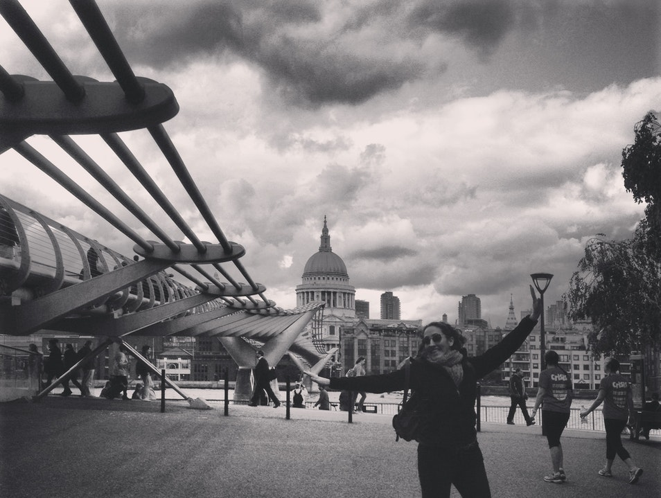 Caught in the Middle on the Millennium Bridge London  United Kingdom