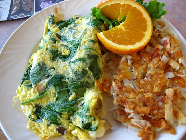 Spinach omelette at Rose's Sugar Shack