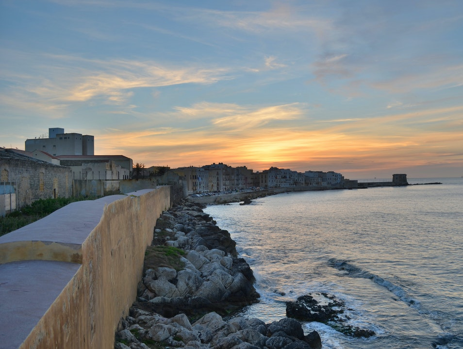 Ocean Walk at Sunset in Old Town Trapani Trapani  Italy
