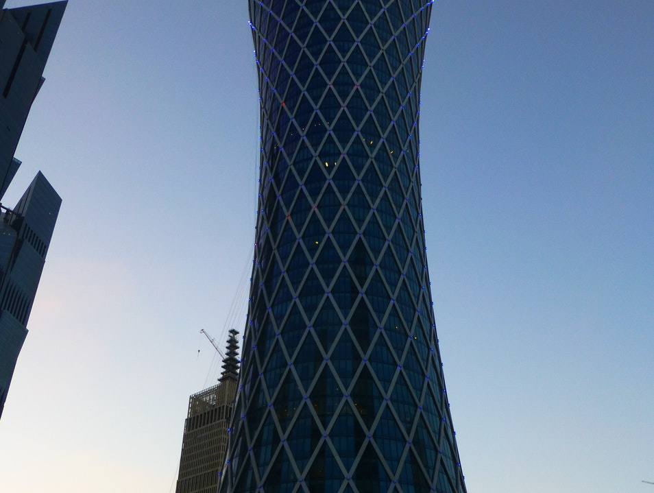 An hour-glass building that represents the force of a tornado Doha  Qatar