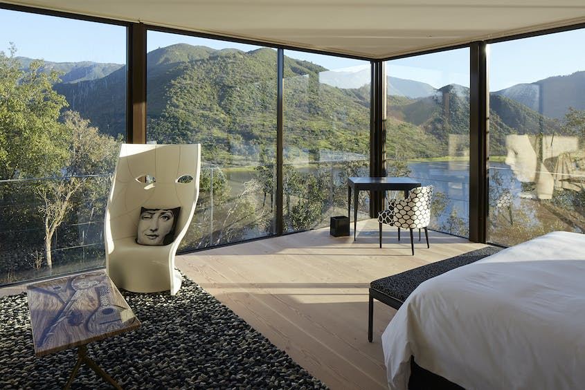 Bunk down in style at one of the seven glass-enclosed villas at the new Puro Vik retreat, part of the lauded Vik Chile resort and Viña Vik vineyards estate.