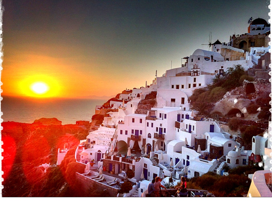 The Famous Sunset at Oia, on Santorini Oia  Greece