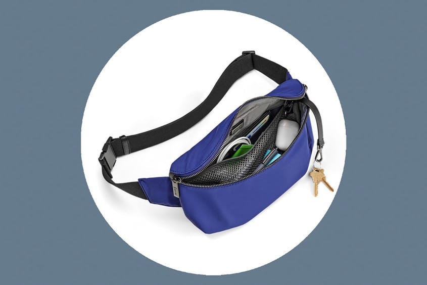 The Sling Bag, sized to fit a S'well water bottle, is available in Black and Cobalt.