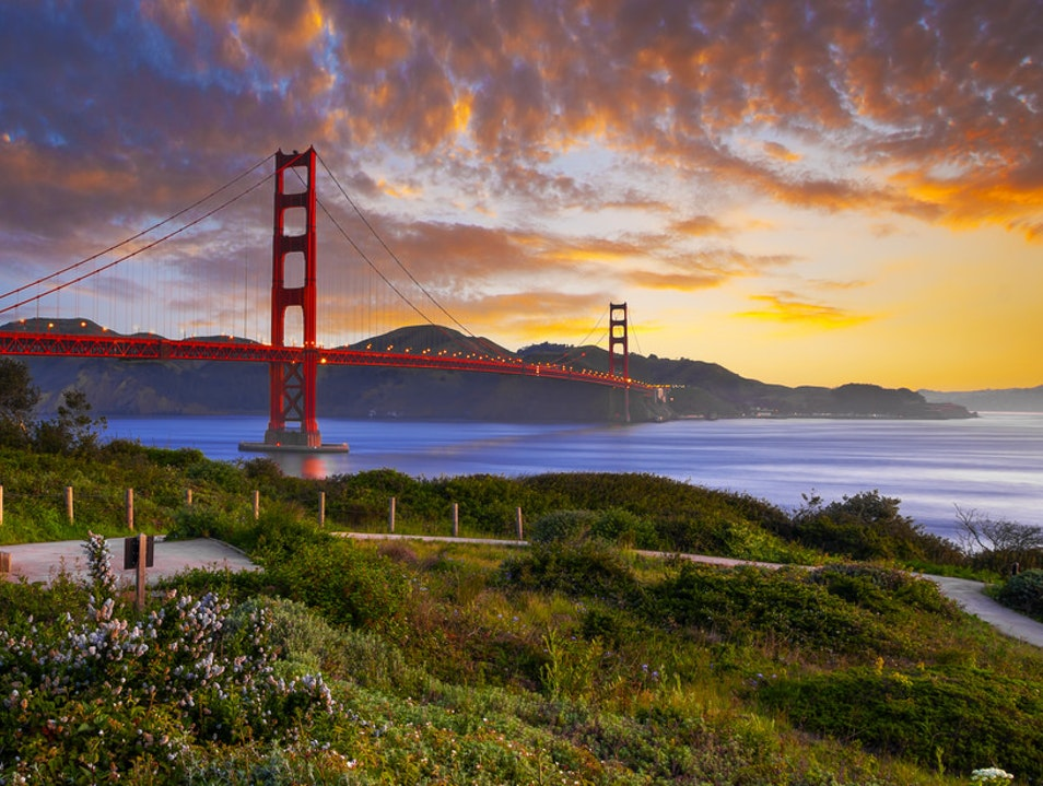 View the Golden Gate Bridge from San Francisco's Presidio San Francisco California United States