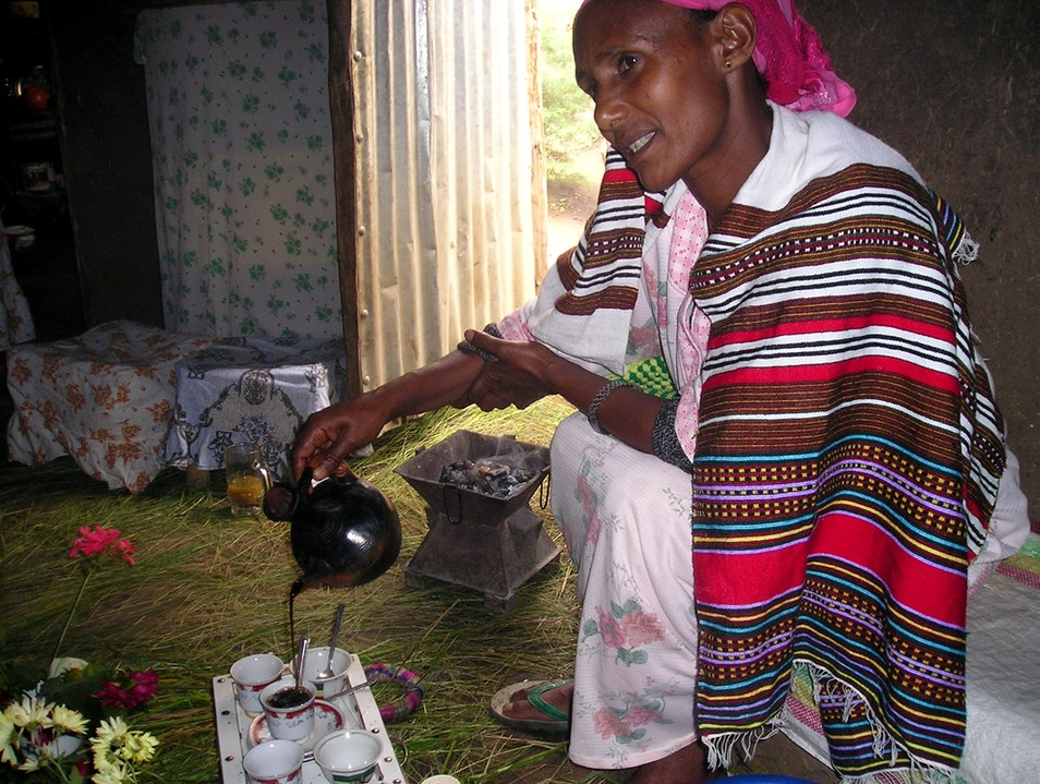 Coffee in an Ethiopian village home  Lalibela  Ethiopia