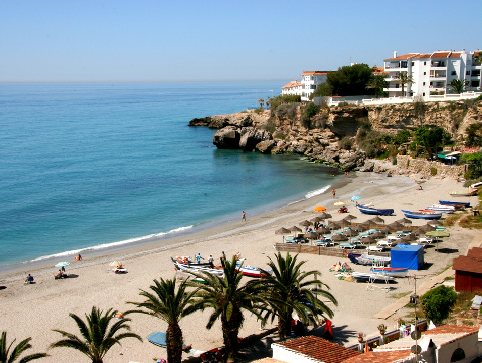 Chilling on the beach in the Costa Del Sol Nerja  Spain