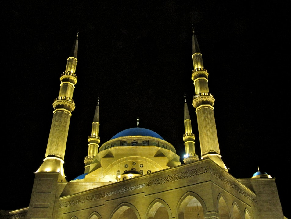 Mohammed Al Amin Mosque at Night Bachoura  Lebanon