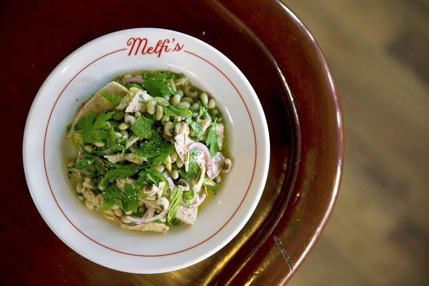 In addition to pasta and pizza, you can also order this tuna field pea salad at Melfi's.