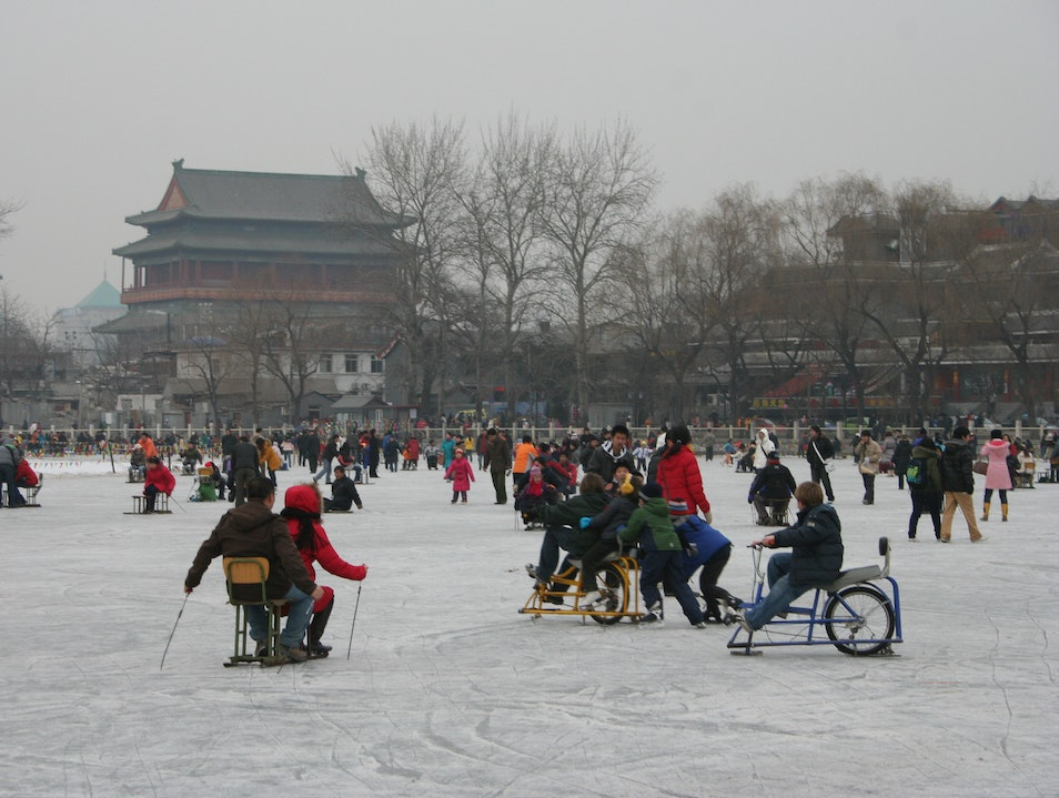 Ice skating at Houhai Beijing  China
